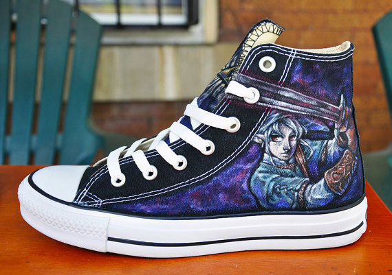 CUSTOM Hand Painted Shoes Zelda High-top Painted Canvas Shoes-2