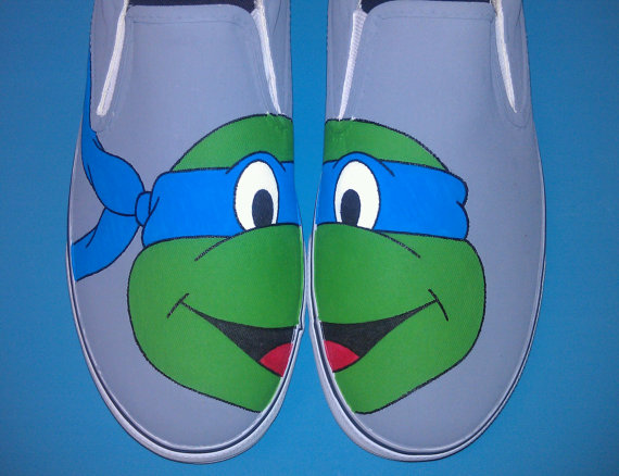 Hand Painted Ninja Turtles Slip-on Painted Canvas Shoes-1
