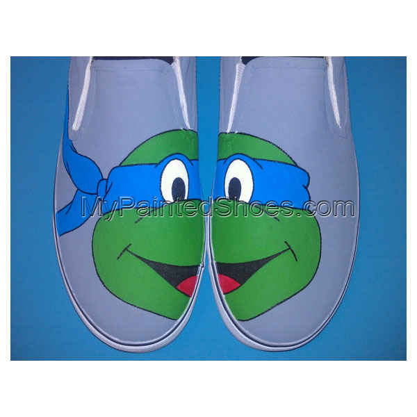 Hand Painted Ninja Turtles Slip-on Painted Canvas Shoes