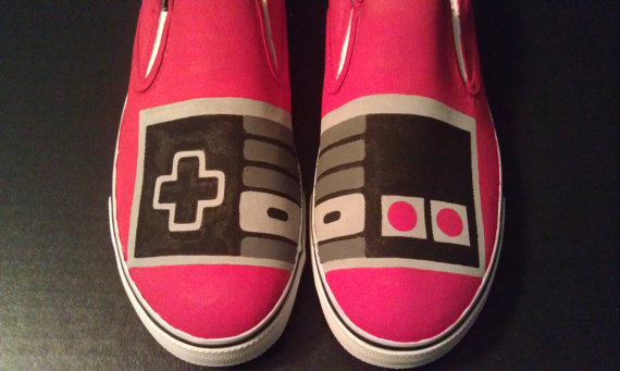 Hand Painted NES Controller Slip-on Painted Canvas Shoe-1