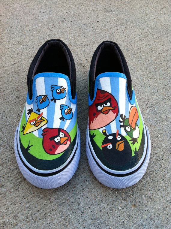 Angry Birds Kids shoes popular video game Slip-on Painted Canvas-1