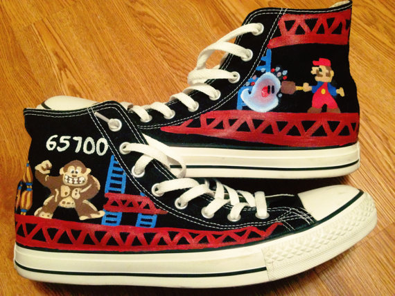 Donkey Kong Hand Painted Shoes High-top Painted Canvas Shoes-1