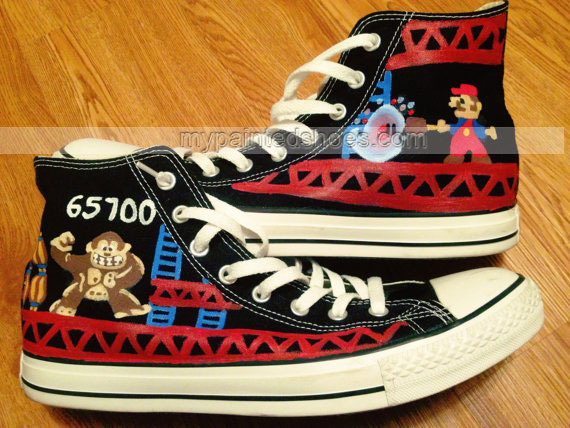 Donkey Kong Hand Painted Shoes High-top Painted Canvas Shoes-3