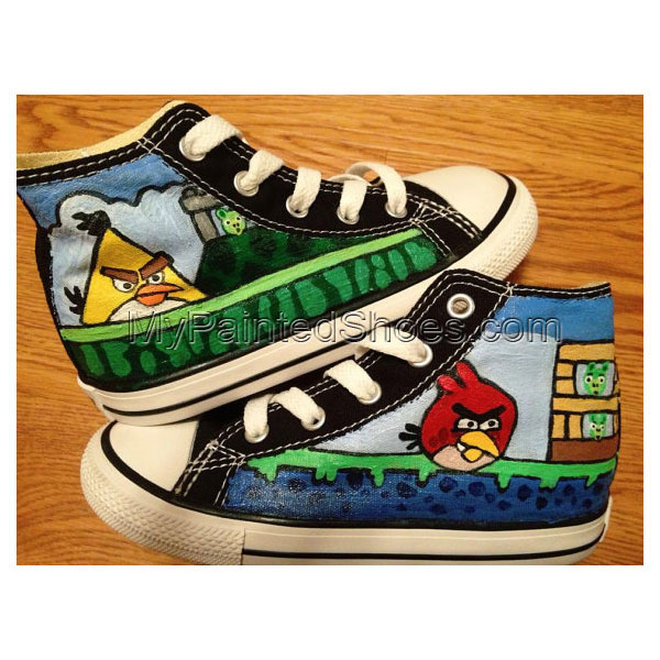 Angry Birds Hand Painted Shoes High-top Painted Canvas Shoes
