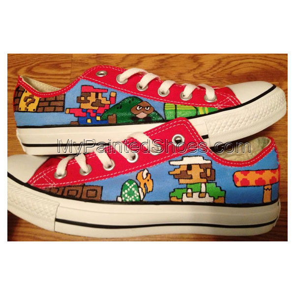 Mario Luigi Hand Painted Shoes Low-top Painted Canvas Shoes