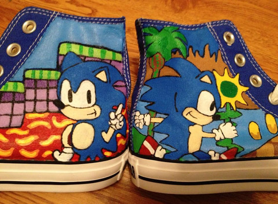 Sonic Hand Painted Shoes High-top Painted Canvas Shoes-1