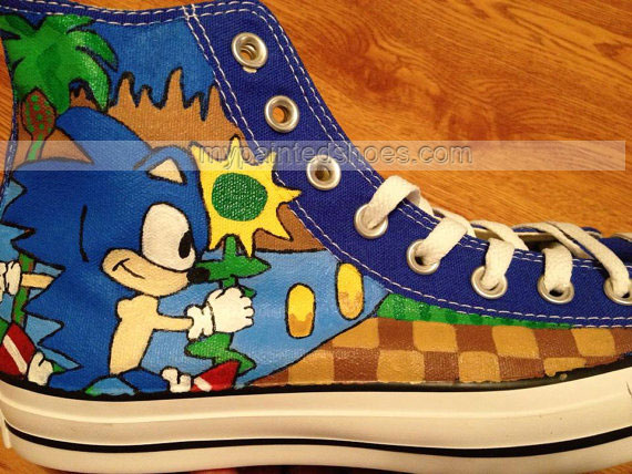 Sonic Hand Painted Shoes High-top Painted Canvas Shoes-3