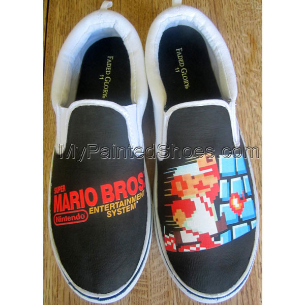 Custom NES Super Mario Bros Canvas Shoes Slip-on Painted Canvas