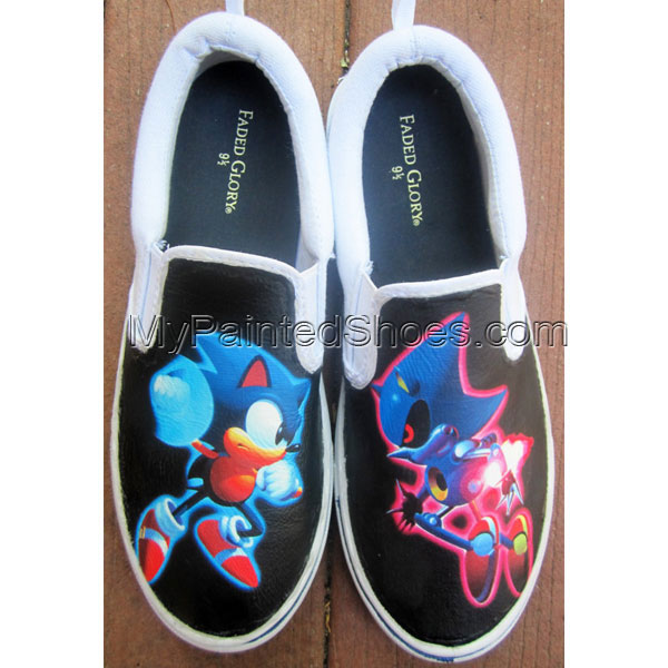 Custom Sonic Metal Sonic Shoes Slip-on Painted Canvas Shoes