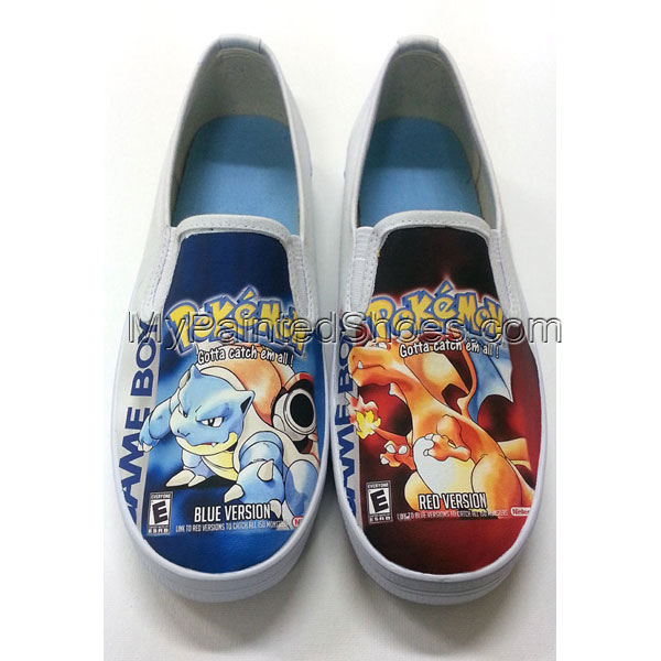 Custom Pokemon Box Art Canvas Shoes Slip-on Painted Canvas Shoes