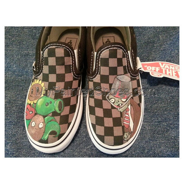 Painted Canvas Shoes Plants vs Zombies Slip-on Painted Canvas Sh