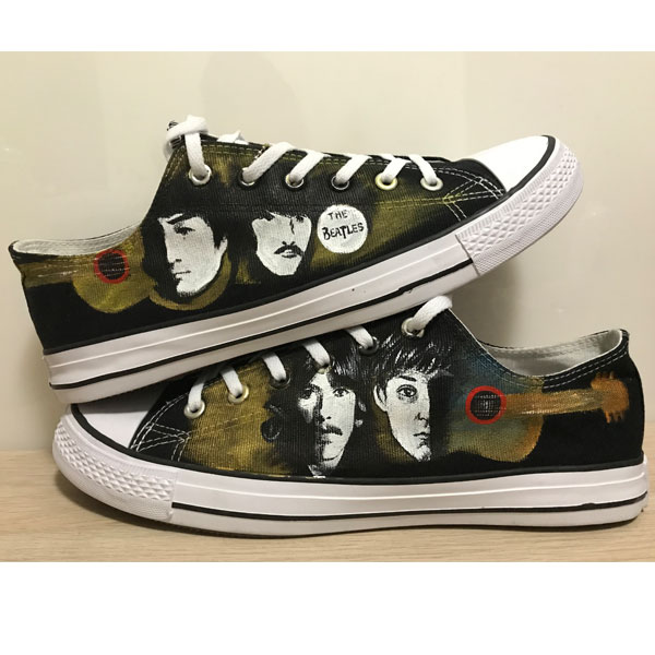 Beatles on Low-top Painted Canvas Shoes Low-top Painted Canvas S