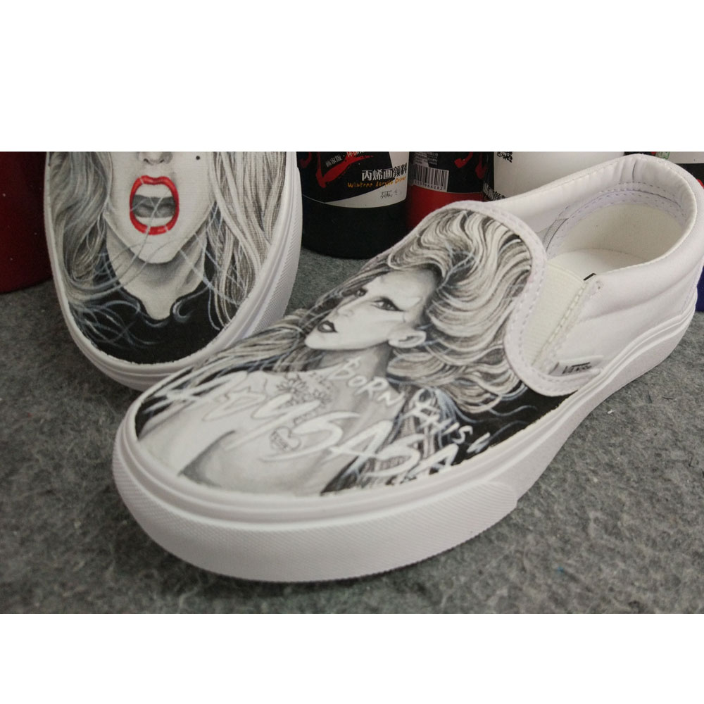 Lady Gaga hand painted on Canvas Shoes High-top Painted Canvas S-3
