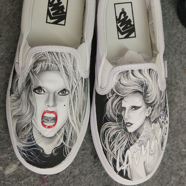 Lady Gaga hand painted on Canvas Shoes High-top Painted Canvas S