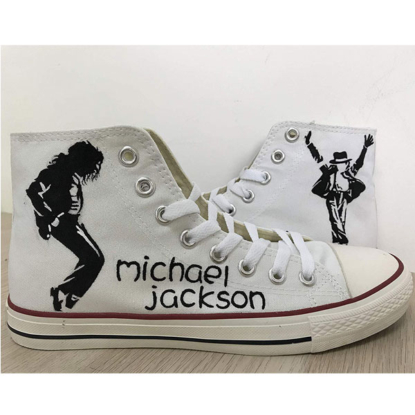 Michael Jackson on Canvas Shoes Low-top Painted Canvas Shoes