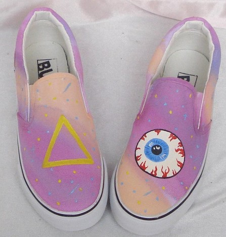 galaxy shoes galaxy sneaker hand painted Slip-on Painted Canvas -1
