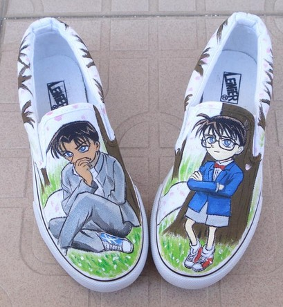 Detective Conan Shoes Hand Painted Slip-on Painted Canvas Shoes-1