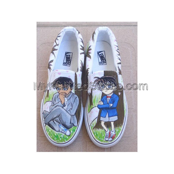 Detective Conan Shoes Hand Painted Slip-on Painted Canvas Shoes