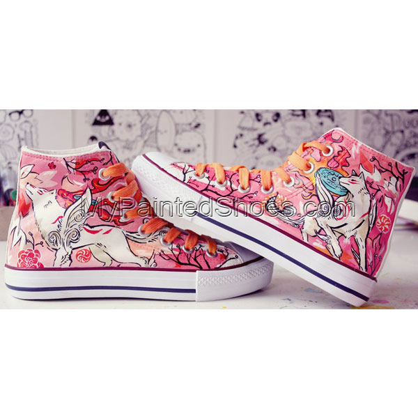 Okami Shoes Painted Shoes High-top Painted Canvas Shoes