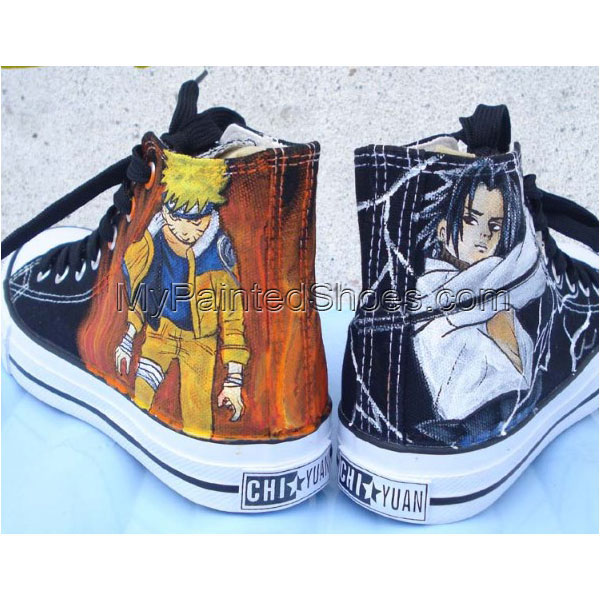 Naruto Sasuke shoes custom canvas shoes Naruto Anime Shoes