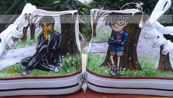 Custom Detective Conan Anime Hand Painted High Top Shoes-3