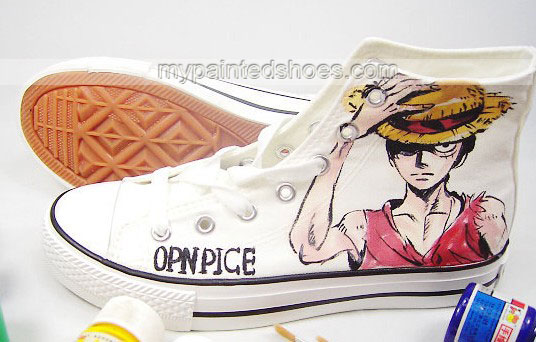 one piece shoes anime High-top Painted Canvas Shoes-3