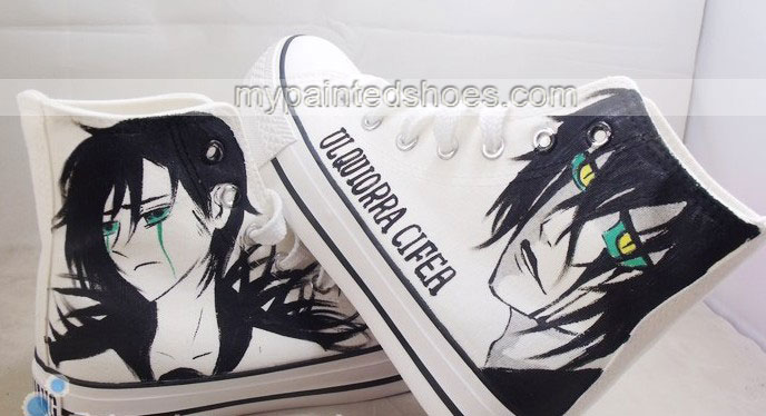 bleach hand painted shoes custom bleach High-top Painted Canvas -3