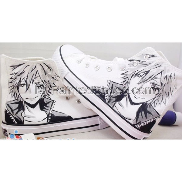 Hitman Reborn Shoes Custom Hitman Reborn High-top Painted Canvas