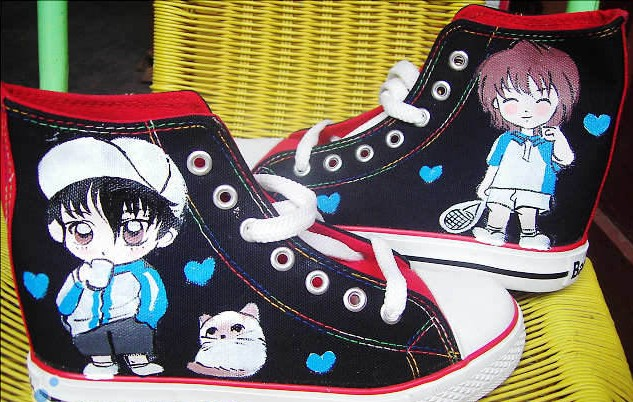 The prince of tennis Hand Painted Shoes Custom High-top Painted-1