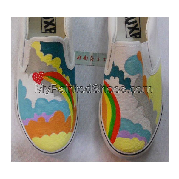 rainbow painted shoes Slip-on Painted Canvas Shoes