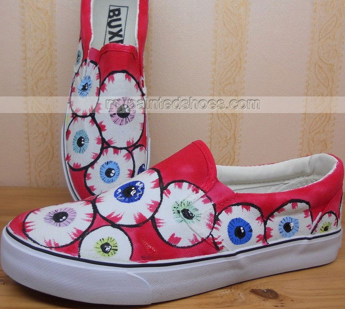 galaxy eyes Painted Shoes Slip-on Painted Canvas Shoes-2