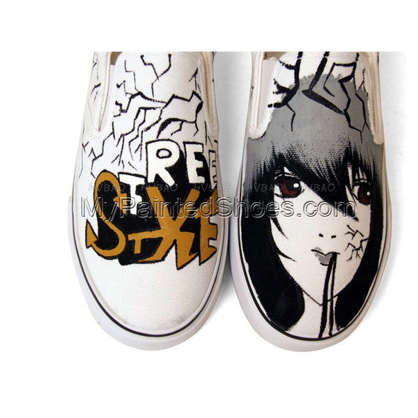 anime shoes custom anime shoes Slip-on Painted Canvas Shoes