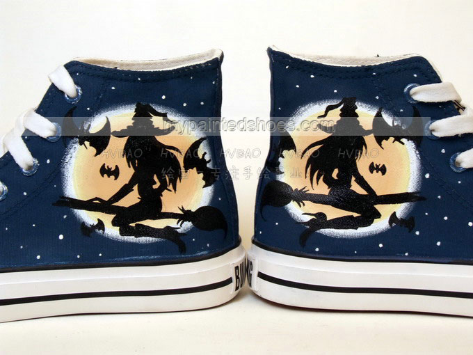 halloween shoes High-top Painted Canvas Shoes for halloween-3