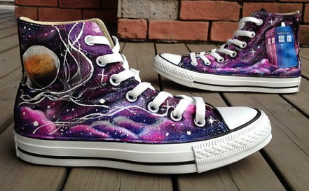 8a2435288ad2 Doctor Who shoes Galaxy Shoes High-top Painted Canvas Shoes