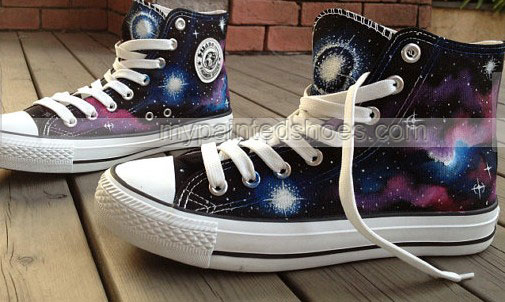 Galaxy Shoes Hand Painted Galaxy Shoes High-top Painted Canvas S-2
