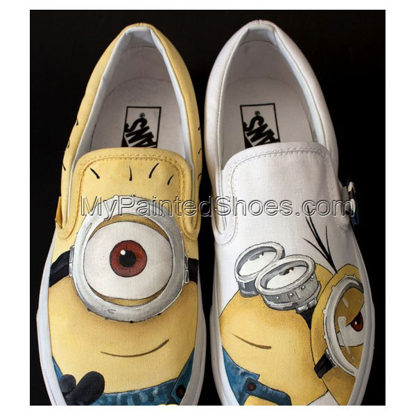 minion shoes hand painted Despicable Me Shoes Slip-on Painted Ca