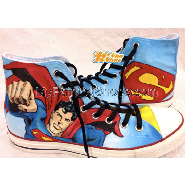 superman shoes superman High-top Painted Canvas Shoes
