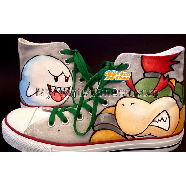 Bowser Shoes Bowser High-top Painted Canvas Shoes