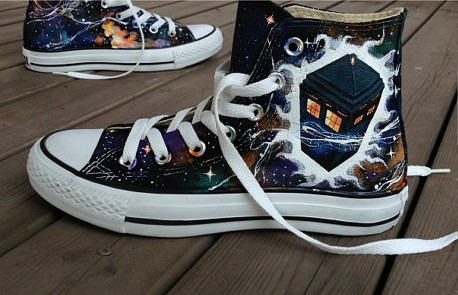Doctor Who Shoes Galaxy Shoes High-top Painted Canvas Shoes-1