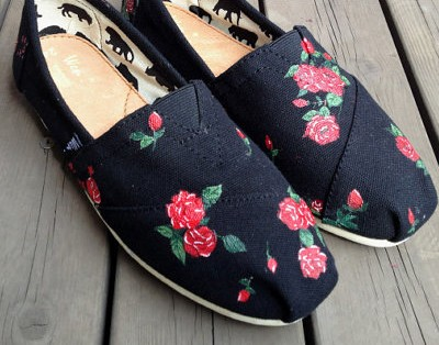 Natural Flowers Flowers shoes Floral Fresh Slip-on Painted Canva-1
