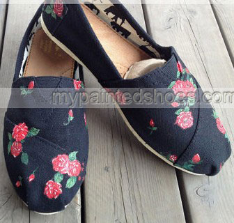 Natural Flowers Flowers shoes Floral Fresh Slip-on Painted Canva-2