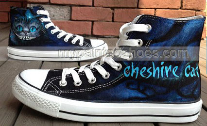 Alice In Wonderland Cheshire Cat Shoes High-top Painted Canvas S-2