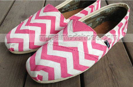 PINK Chevron Chevron New Style Chevron Shoes Slip-on Painted Can-2