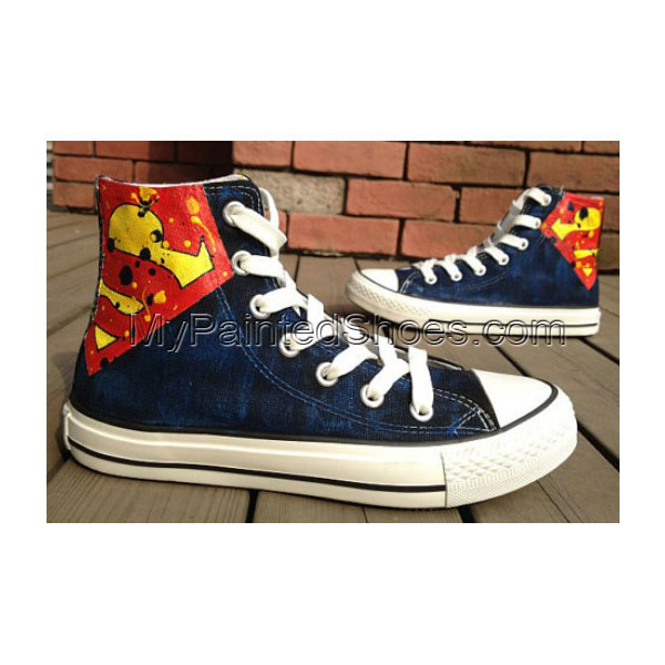 2013 New Birthday Superman Hand Painted Shoes High-top Painted C