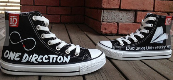One Direction Shoes High-top Painted Canvas Shoes-1