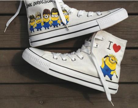 Despicable Me Shoes minion shoes High-top Painted Canvas Shoes-1