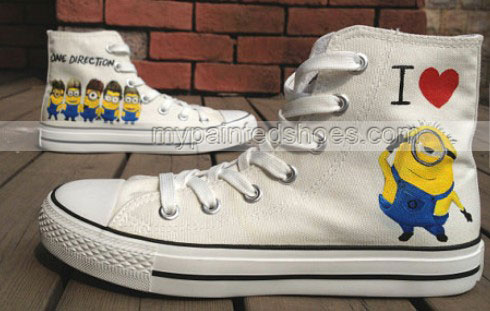 Despicable Me Shoes minion shoes High-top Painted Canvas Shoes-2