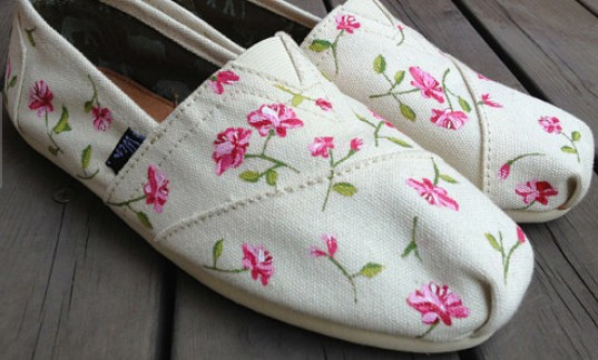 Flowers Fresh Floral Hand Painted Shoes Slip-on Painted Canvas S-1