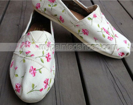 Flowers Fresh Floral Hand Painted Shoes Slip-on Painted Canvas S-2
