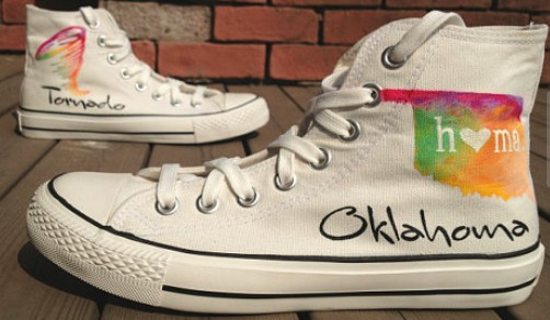 Oklahoma Tornado Shoes High-top Painted Canvas Shoes-1